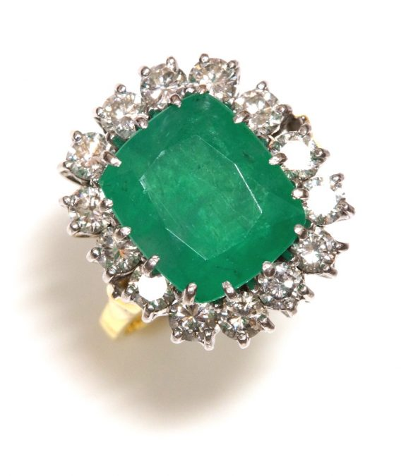 Antique diamond emerald