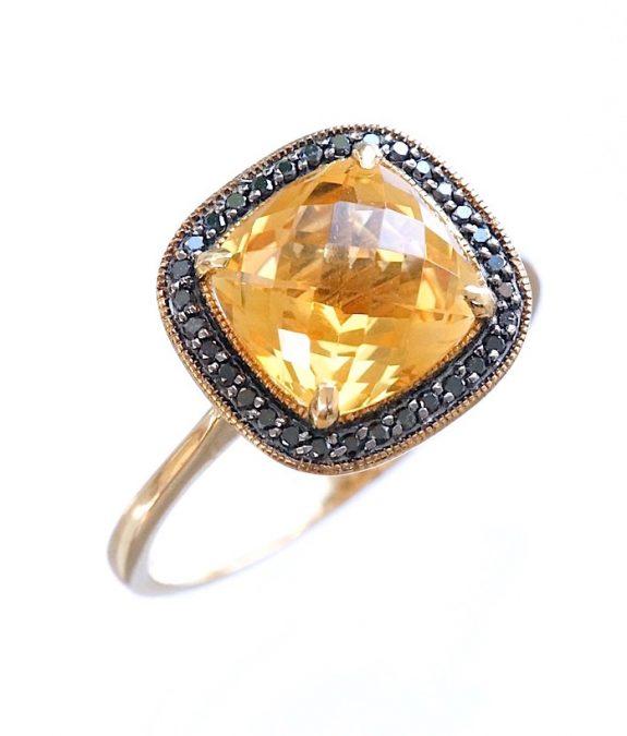 diamond and citrine ring